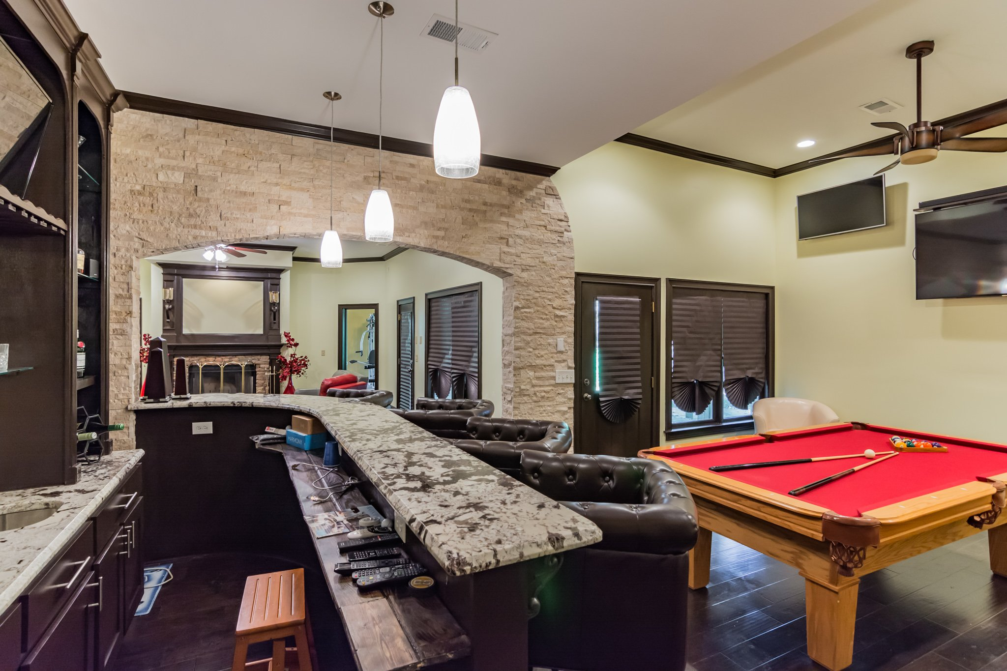 real estate photo - bar and pool room