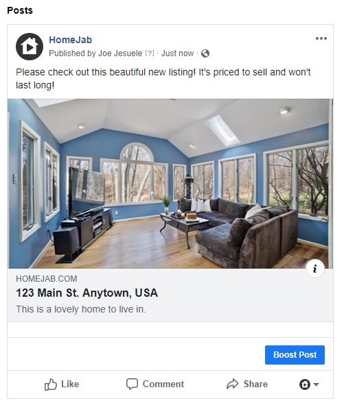 HomeJab property page successfully posted on Facebook