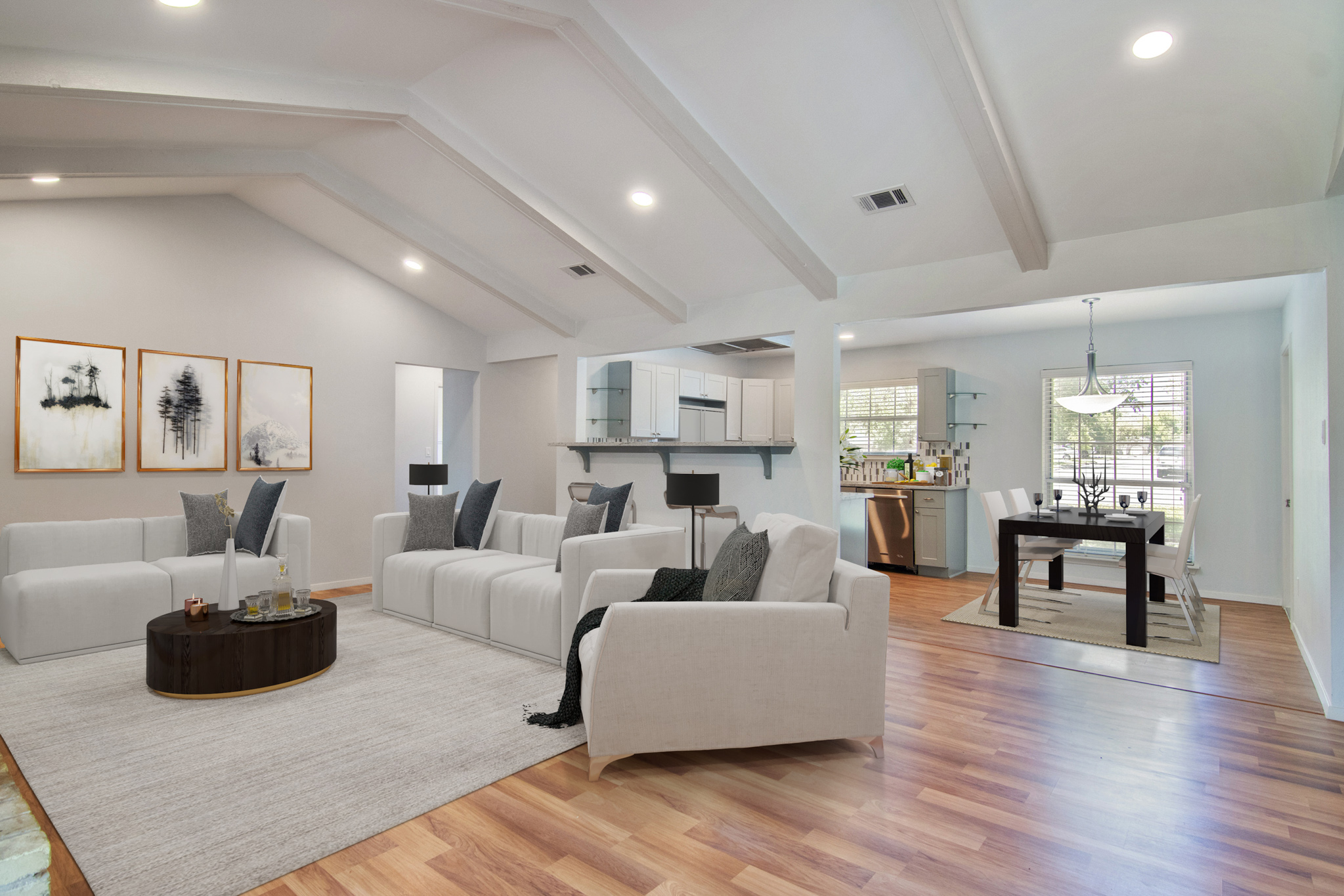 virtual staging living room and dining
